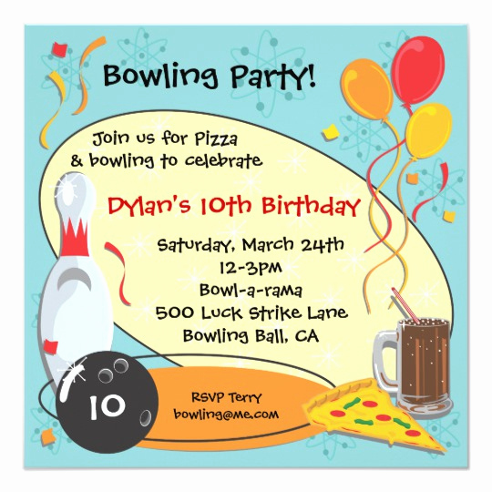 Bowling Birthday Party Invitation Wording Lovely Retro Bowling Birthday Party Invitation Card