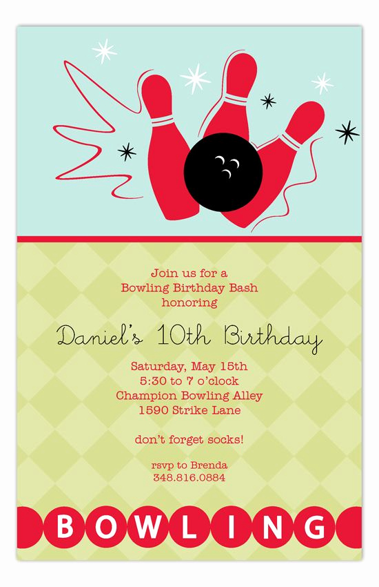 Bowling Birthday Party Invitation Wording Luxury 17 Best Images About Bowling Invitation On Pinterest