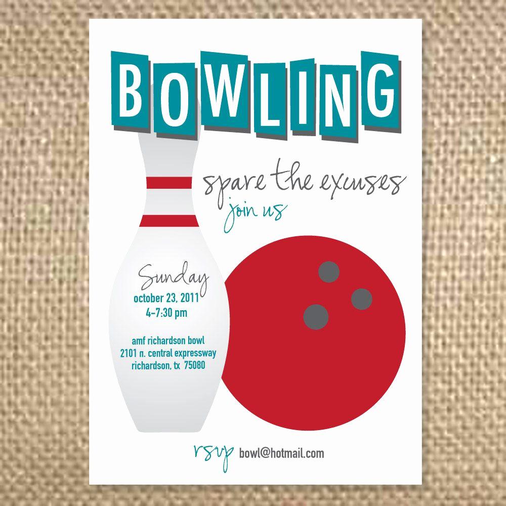 Bowling Birthday Party Invitation Wording Luxury Retro Bowling Invitation $1 75 Via Etsy