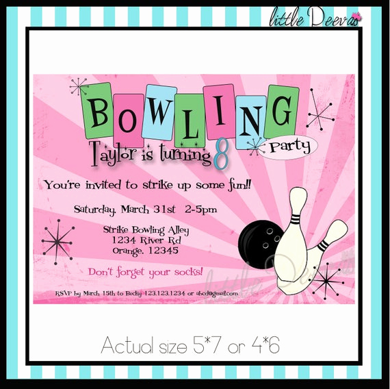 Bowling Birthday Party Invitation Wording New Bowling Birthday Invitation Custom Wording and by Littledeevas