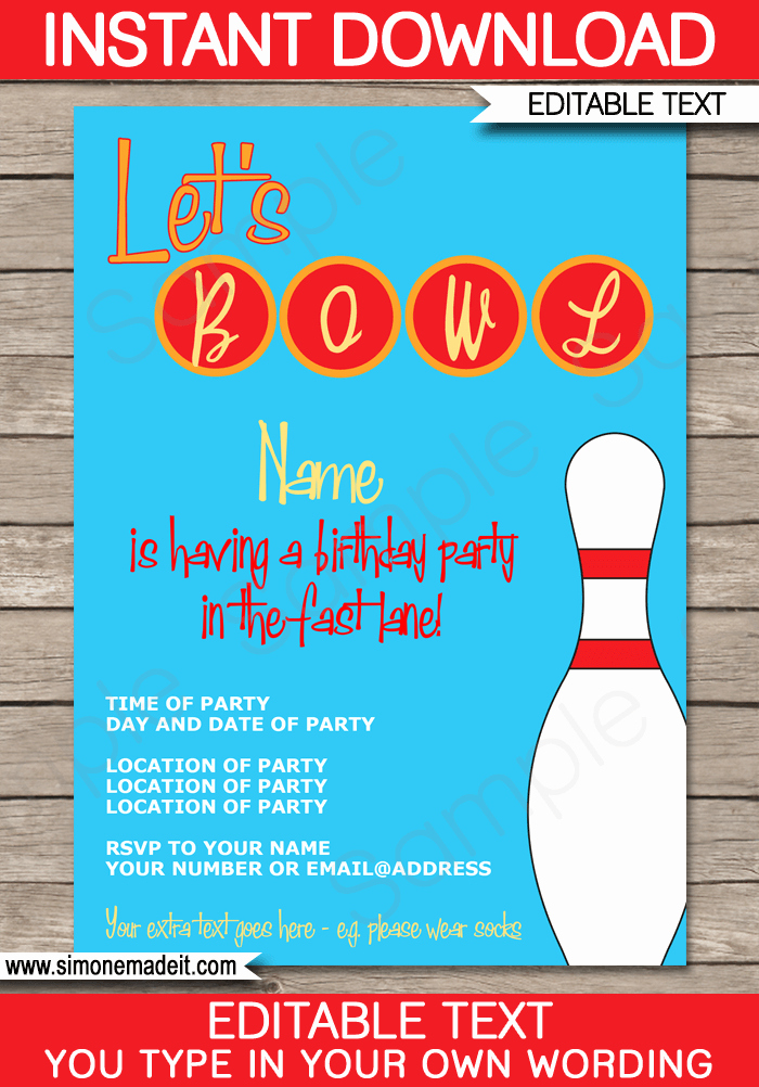 Bowling Party Invitation Template Free Fresh Bowling Party Invitations Template