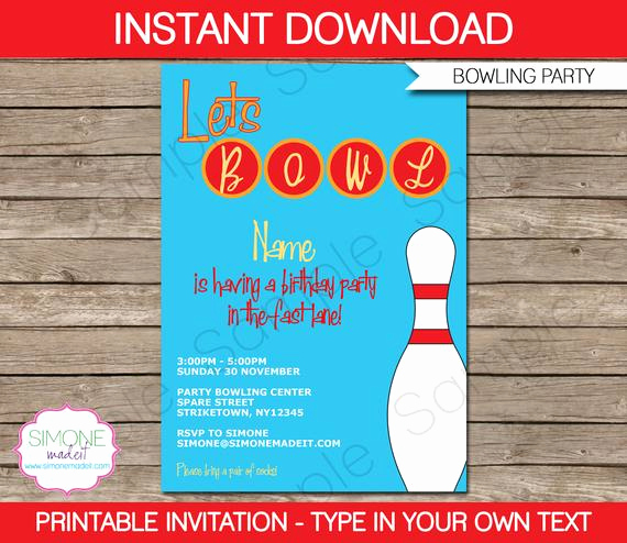 Bowling Party Invitation Template Free Lovely Bowling Invitation Template Birthday Party Instant