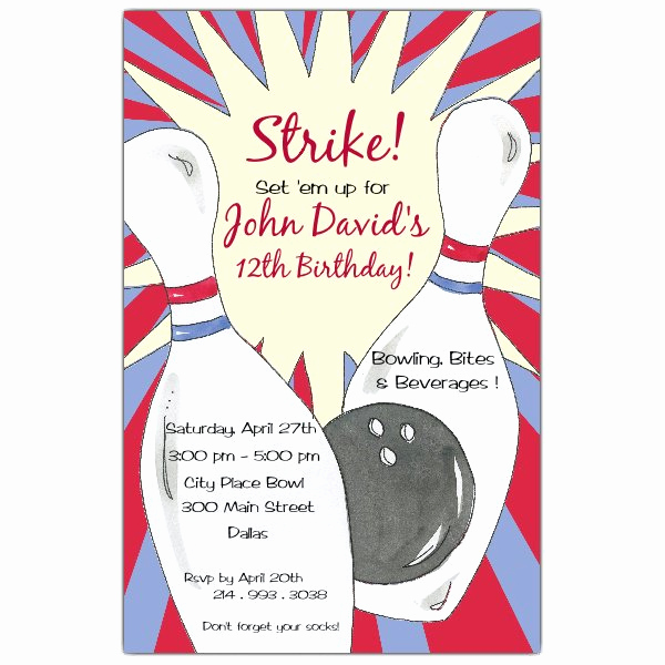 Bowling Party Invitation Template New Bowling Birthday Party Invitations