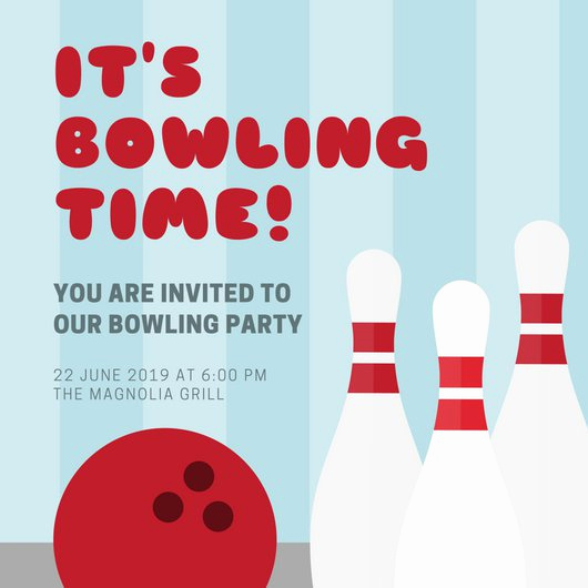 Bowling Party Invitation Templates Elegant Blue Stripes Bowling Party Invitation Templates by Canva