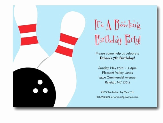 Bowling Party Invitation Templates Elegant Bowling Birthday Party Invitation Printable