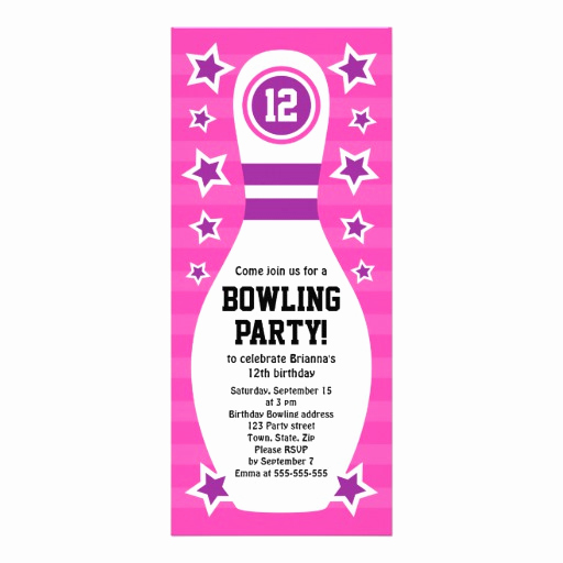 Bowling Party Invitation Templates Free Beautiful Bowling Pin Birthday Party Invitation with Stars 10 Cm X