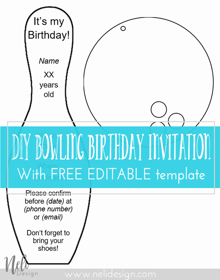 Bowling Party Invitation Templates Free Elegant Diy Bowling Birthday Invitations