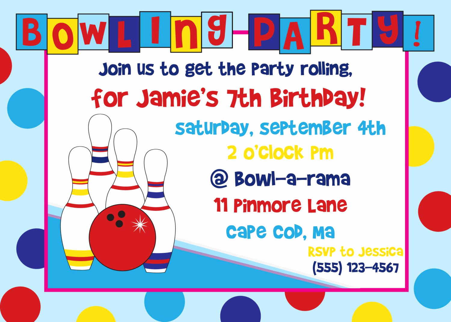 Bowling Party Invitation Templates Free Luxury Bowling Birthday Party Invitations Free Templates