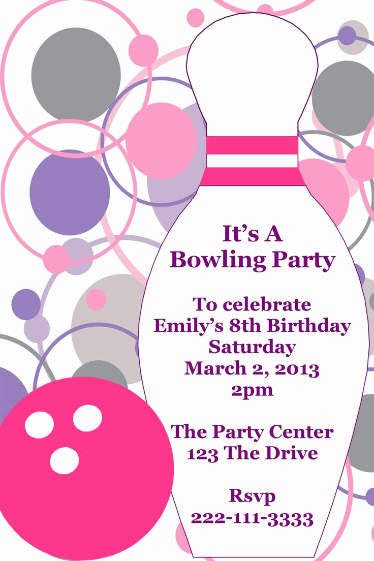 Bowling Party Invitation Templates Fresh Bowling Printable Birthday Party Invitation Diy Digital