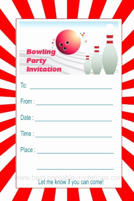 Bowling Party Invitation Templates Inspirational Bowling Party Invitations