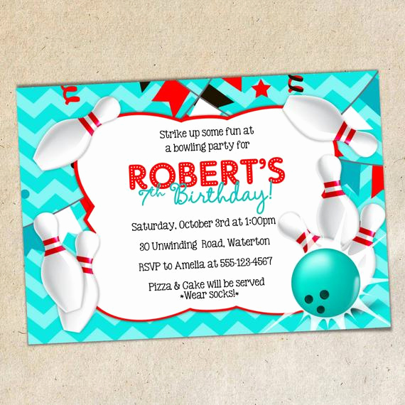 Bowling Party Invitation Templates Lovely Bowling Party Invitation Template Chevron Background Bowling