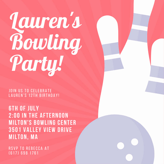 Bowling Party Invitation Templates New Customize 95 Bowling Invitation Templates Online Canva