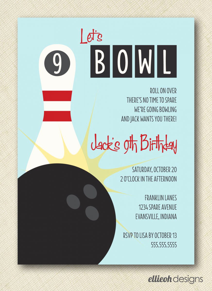Bowling Party Invitation Templates Unique Free Bowling Birthday Party Invitations