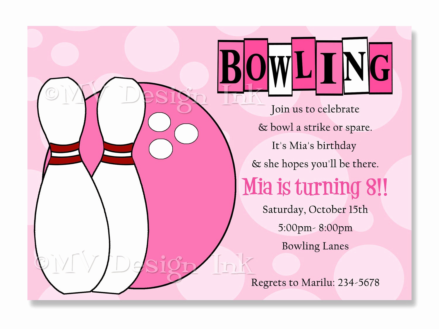 Bowling Party Invitation Wording Awesome Girl Bowling Party Invitations Bowling Birthday Invitation