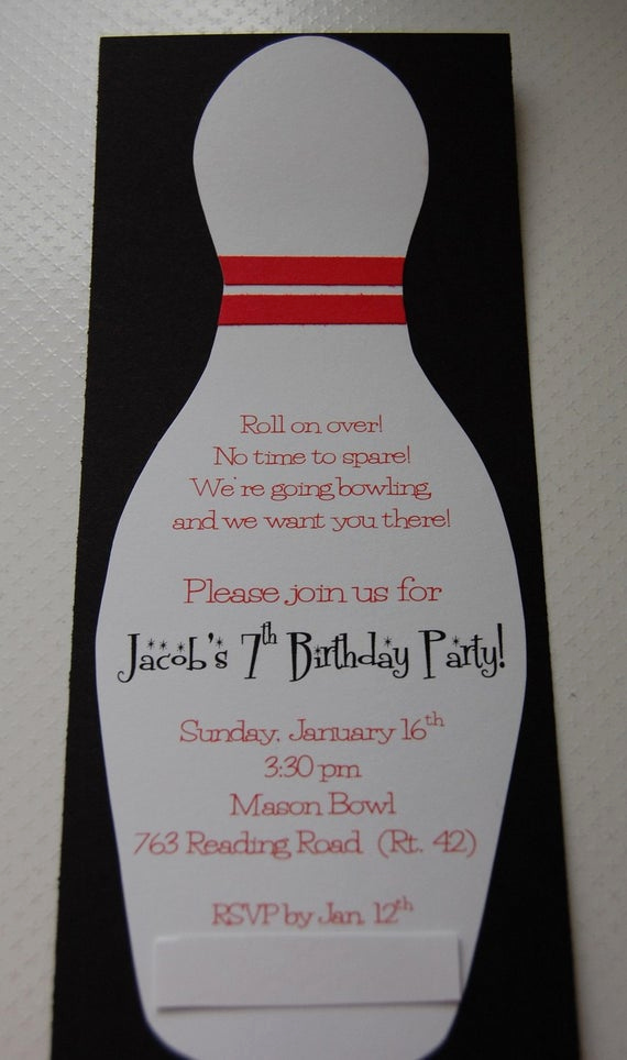 Bowling Party Invitation Wording Beautiful Bowling Birthday Party Invitation 12 by Anygoodideas On Etsy