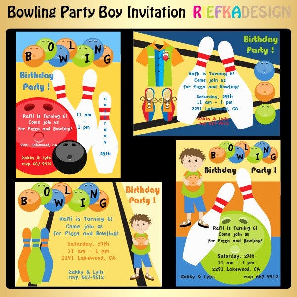 Bowling Party Invitation Wording Beautiful Bowling Party Boy Invitation by Riefka On Etsy