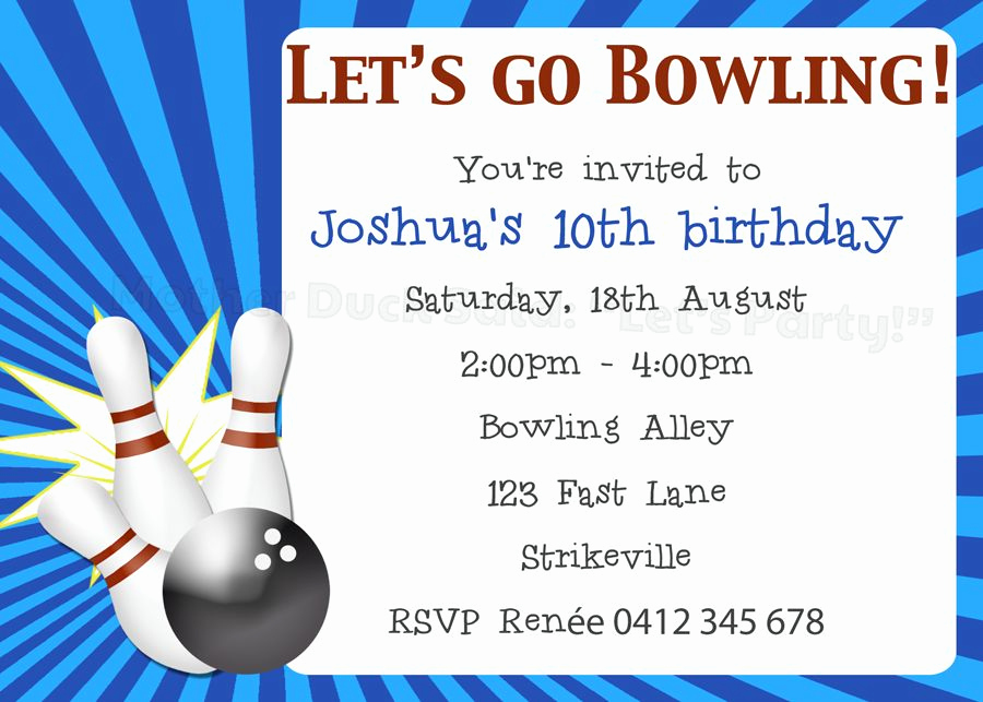 "Bowling Party Invitation Wording Beautiful Mother Duck Said ""lets Party "" Ten Pin Bowling Party"