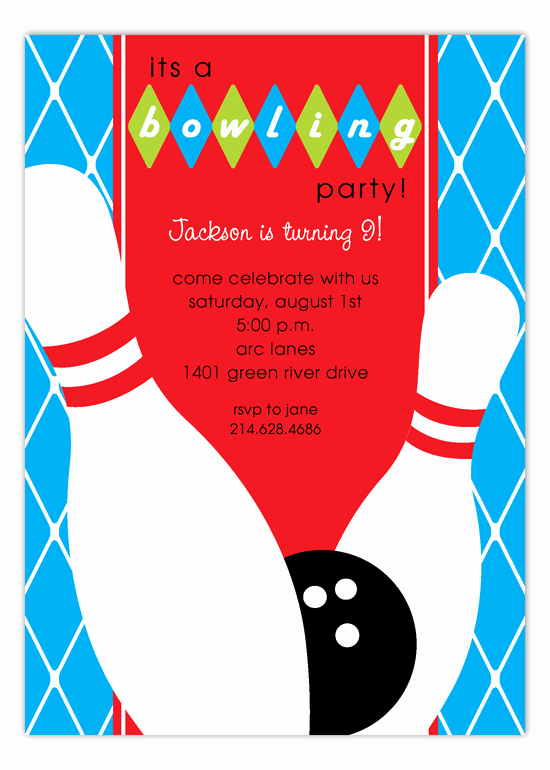 Bowling Party Invitation Wording Elegant Blue Diamond Bowling Invitation