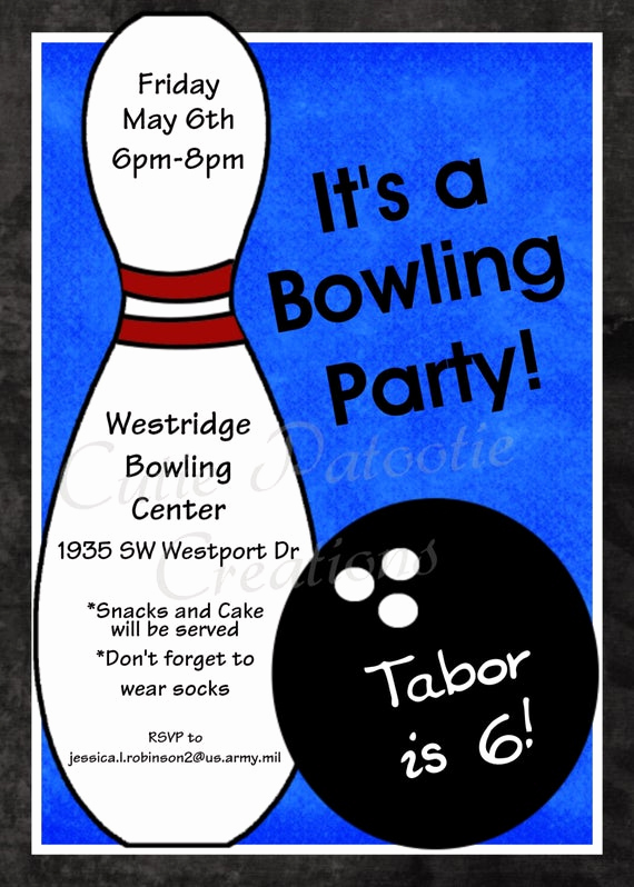 Bowling Party Invitation Wording Elegant Bowling Birthday Invitation Printable or Printed Party Invite