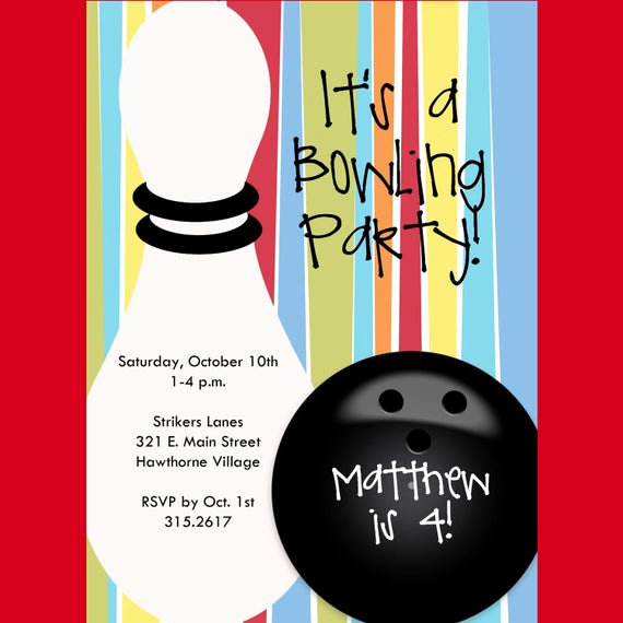 Bowling Party Invitation Wording Elegant Bowling Birthday Party Invitation Printable by Cardsbycarolyn