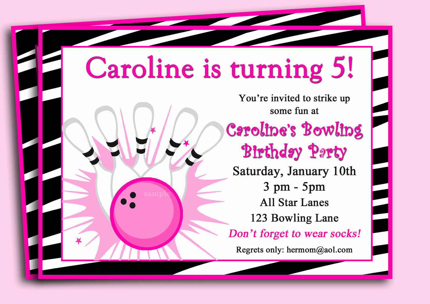 Bowling Party Invitation Wording Elegant Bowling Invitation Printable or Printed with Free Shipping