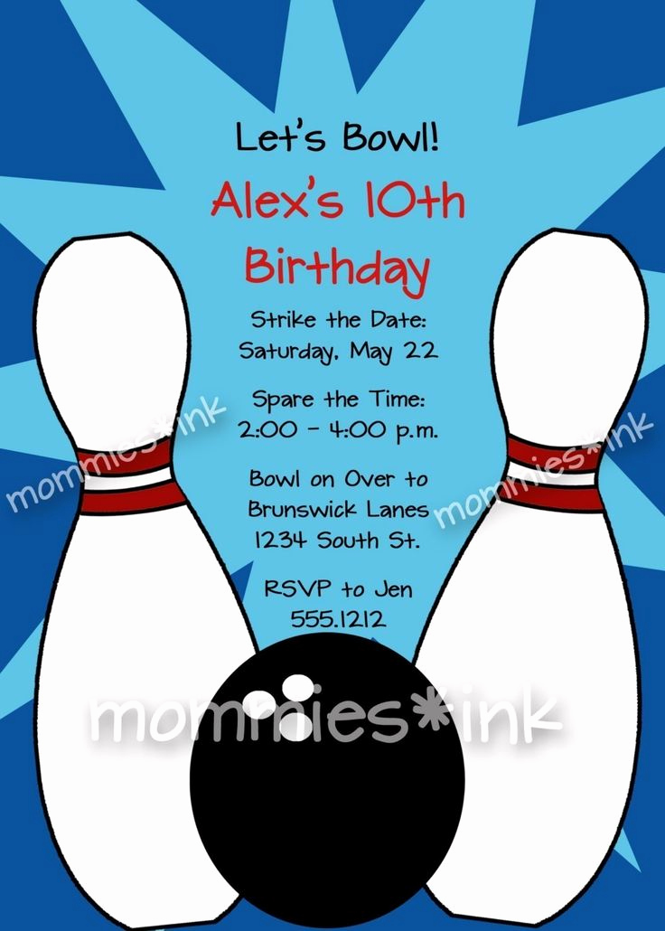 Bowling Party Invitation Wording Elegant Free Bowling Party Invitations Templates with Blue