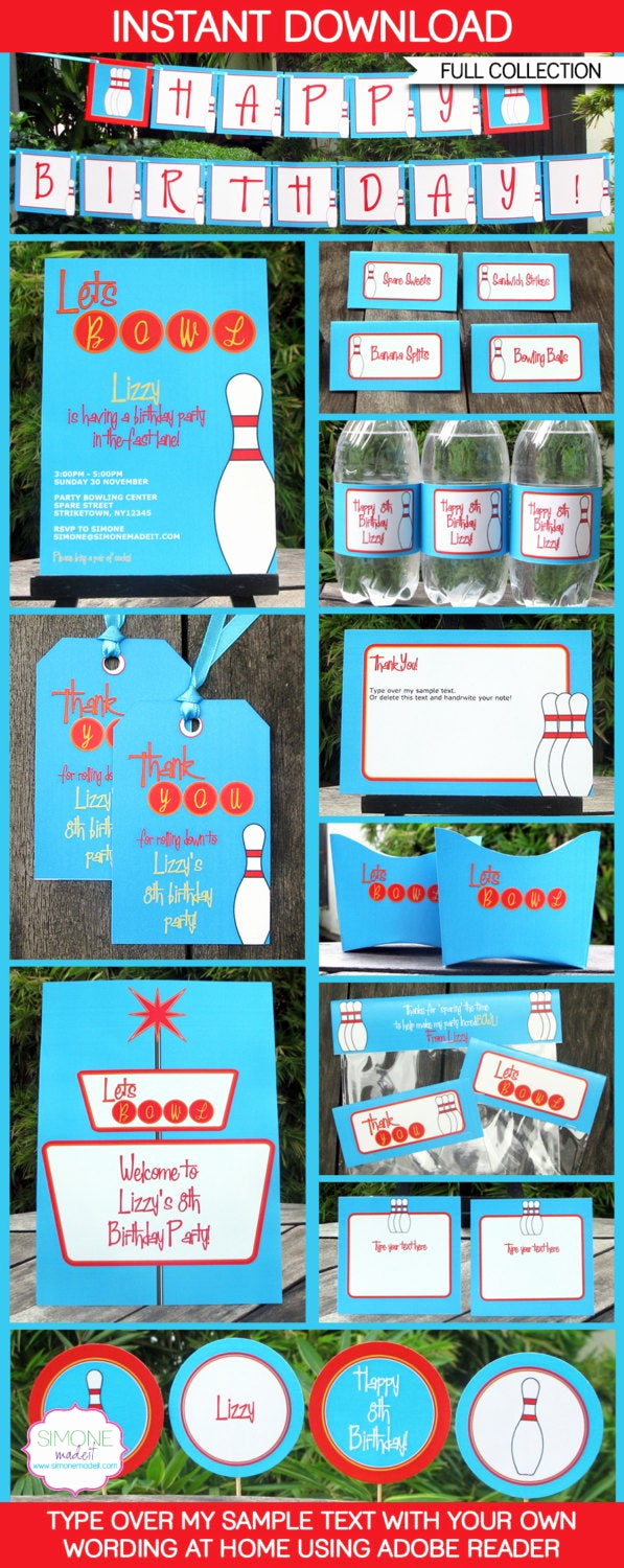 Bowling Party Invitation Wording Lovely Bowling theme Party Invitations & Decorations Full Printable