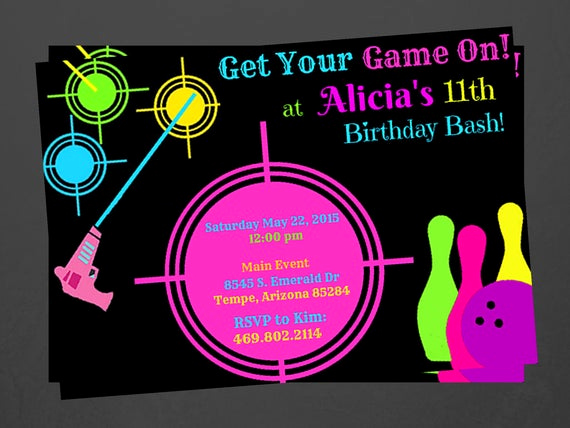 Bowling Party Invitation Wording Luxury Laser Tag and Bowling Party Invitations Custom