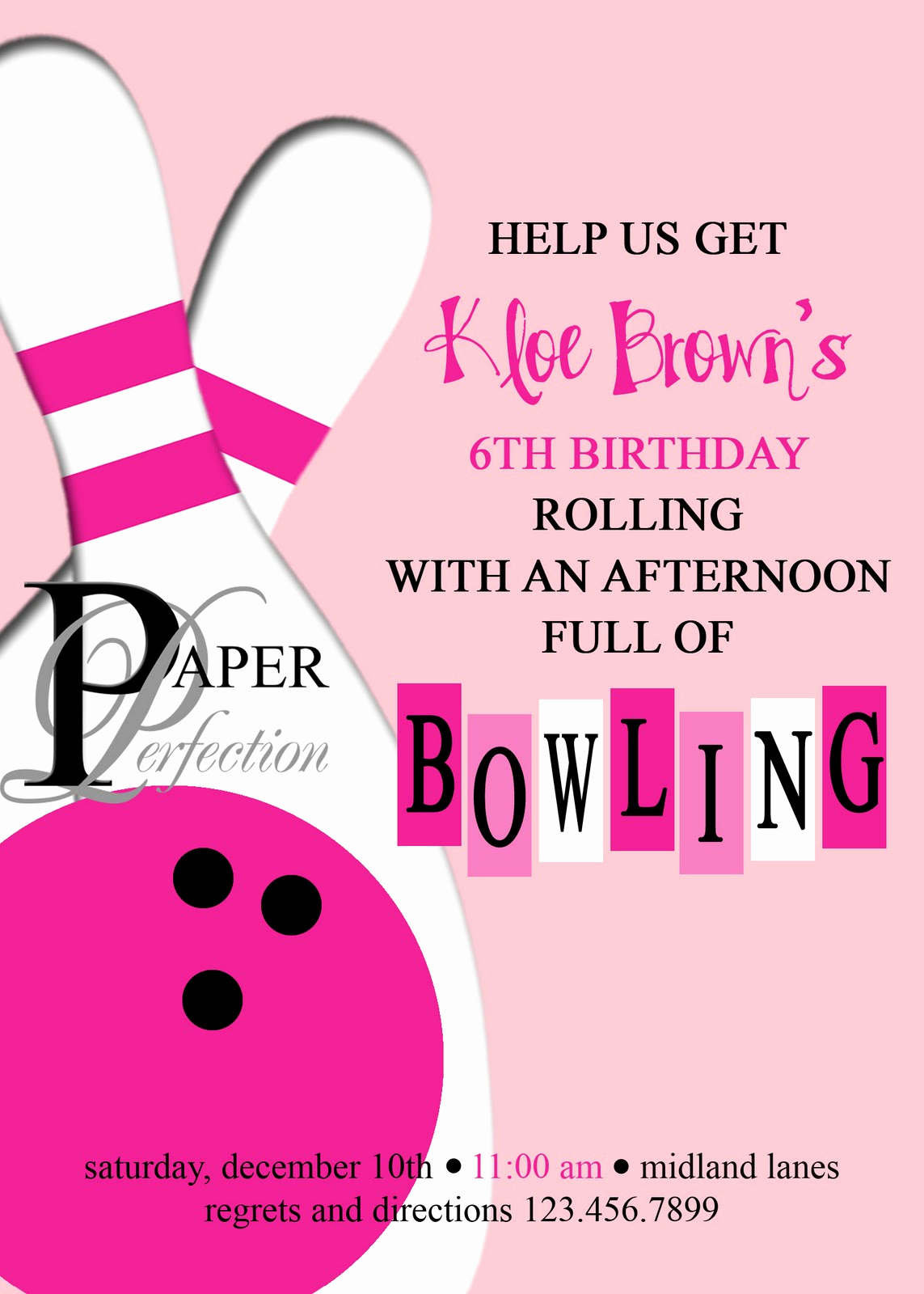 pink bowling party invite and