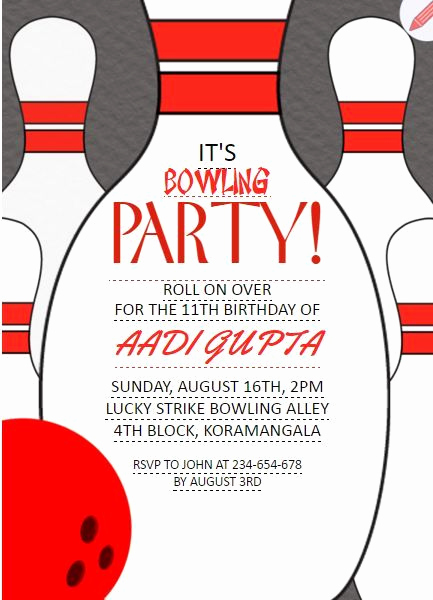 Bowling Party Invitation Wording Unique Pin by Free Line Invitations On Kids Birthday Party
