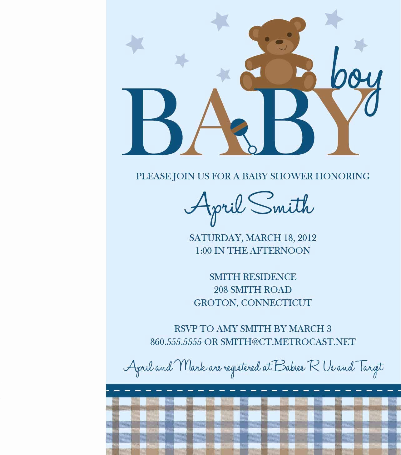 Boy Baby Shower Invitation Awesome Teddy Bear Baby Shower Templates