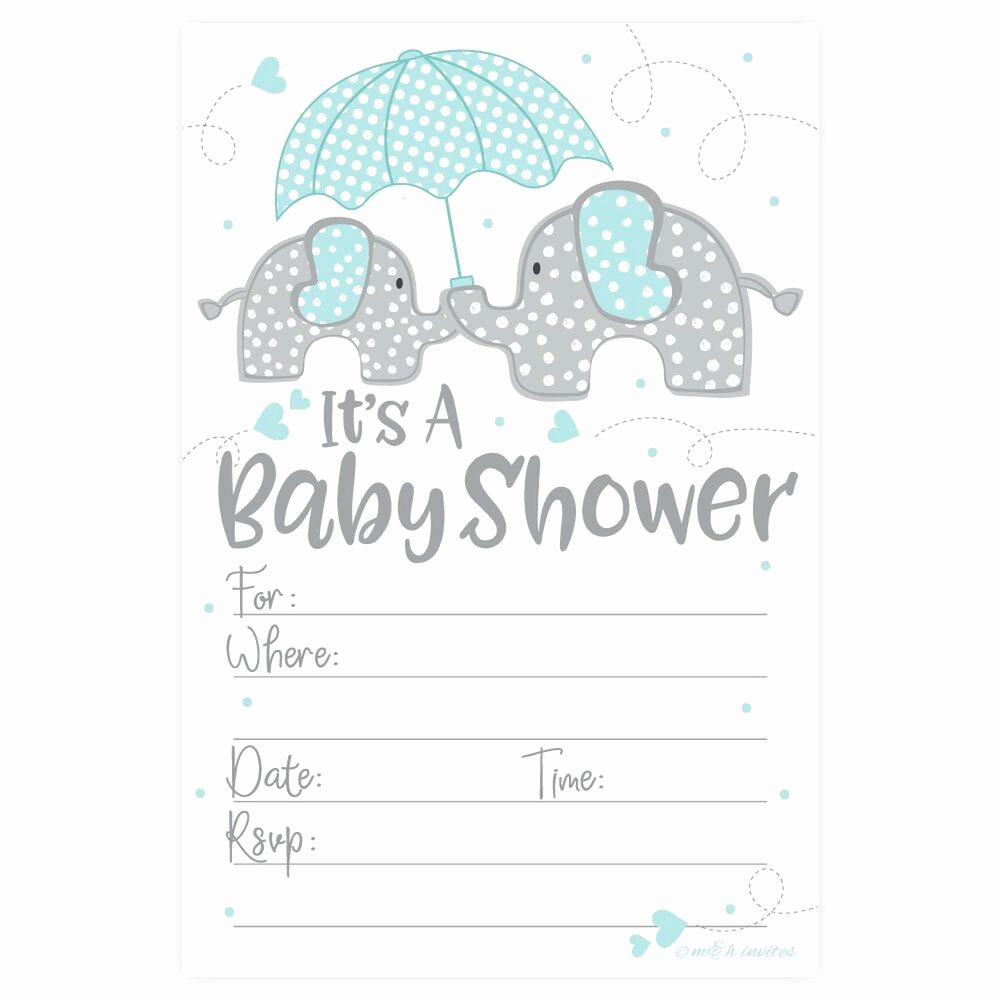Boy Baby Shower Invitation Beautiful Blue Elephant Boy Baby Shower Invitations 20 Count with