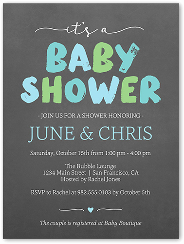 Boy Baby Shower Invitation Beautiful Brushed Letters Boy 4x5 Baby Shower Invitation Cards