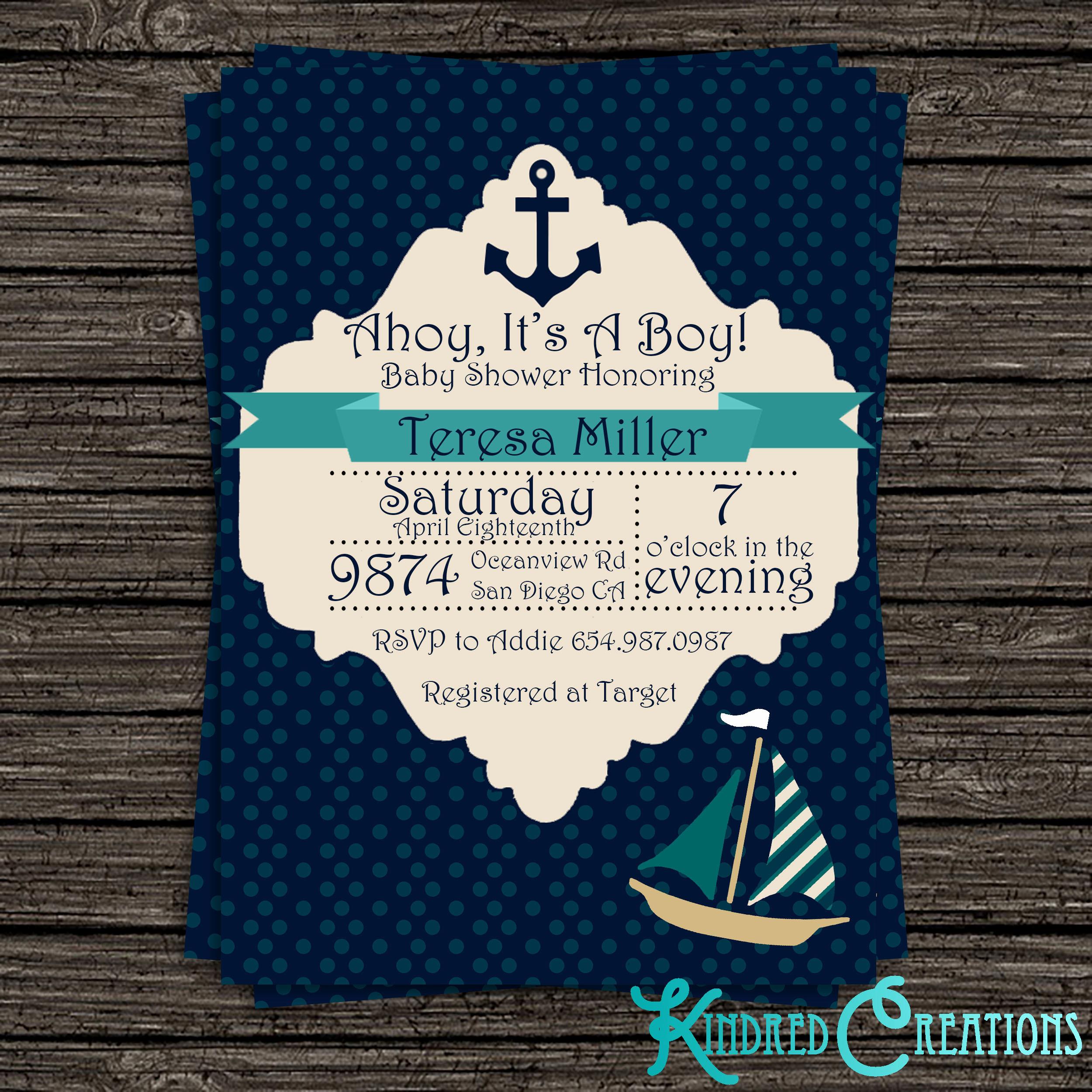 Boy Baby Shower Invitation Beautiful Nautical Baby Boy Shower Invitation Kindred Creations