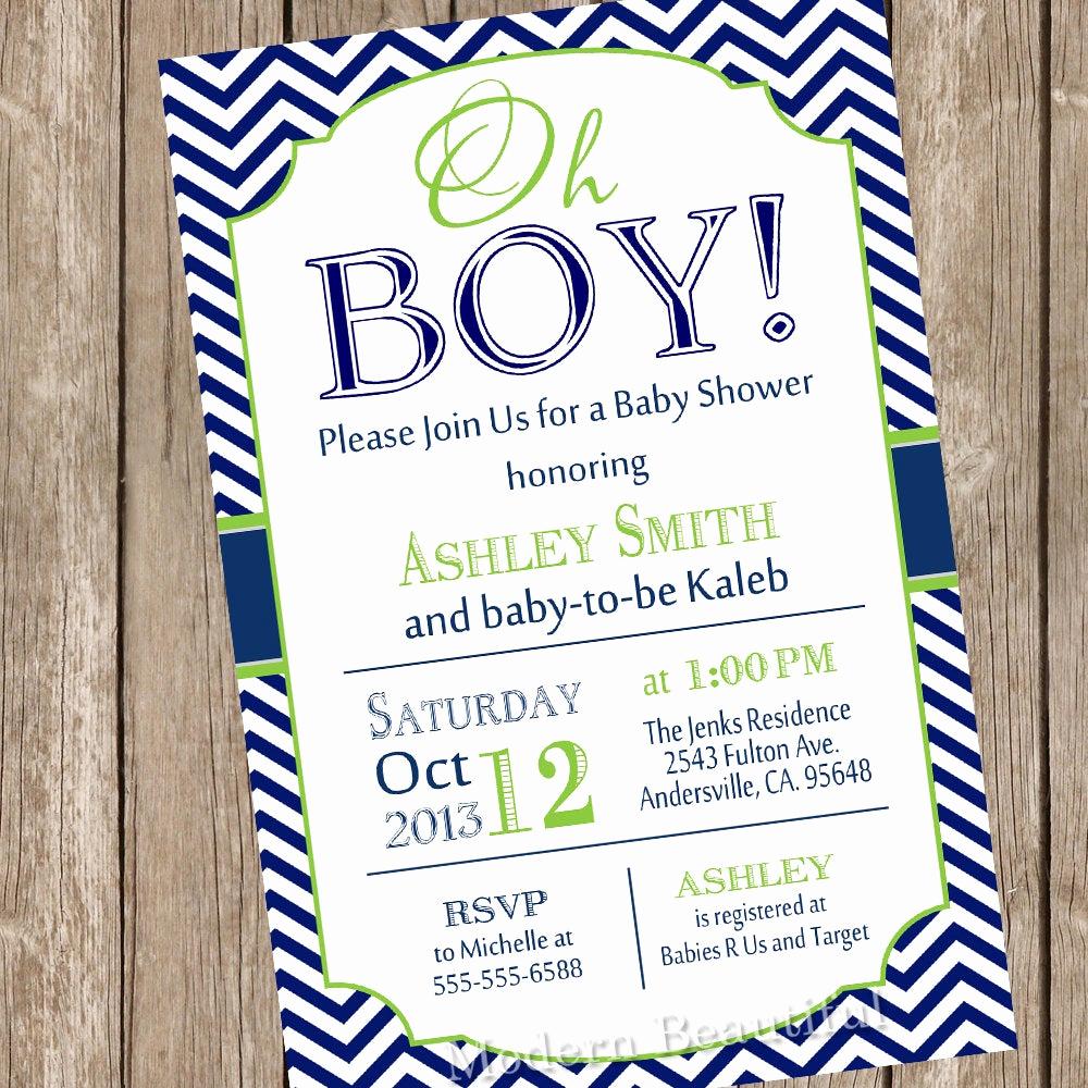 Boy Baby Shower Invitation Beautiful Oh Boy Baby Shower Invitation Navy and Lime Green Chevron