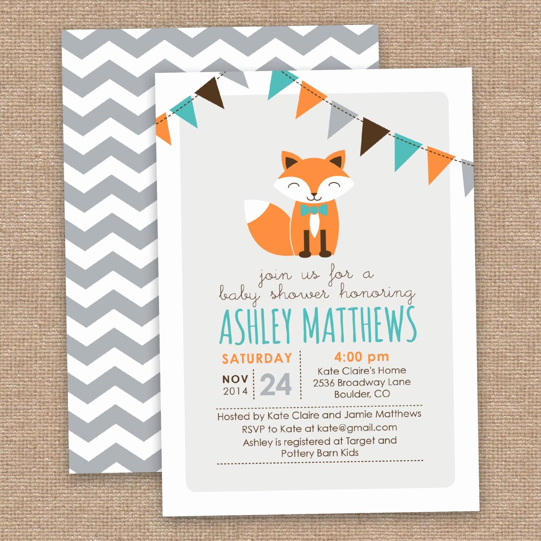 Boy Baby Shower Invitation Best Of Boy Fox Baby Shower Invitation Chevron orange Aqua Gray Diy