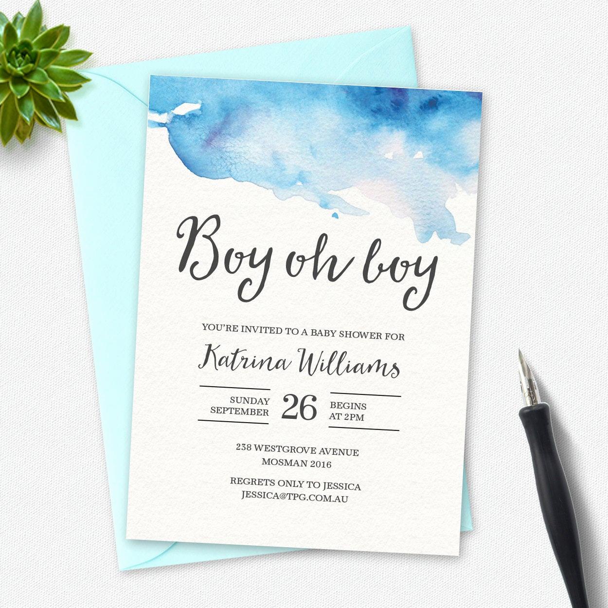 Boy Baby Shower Invitation Elegant Boy Baby Shower Invitation Boy Oh Boy Watercolor