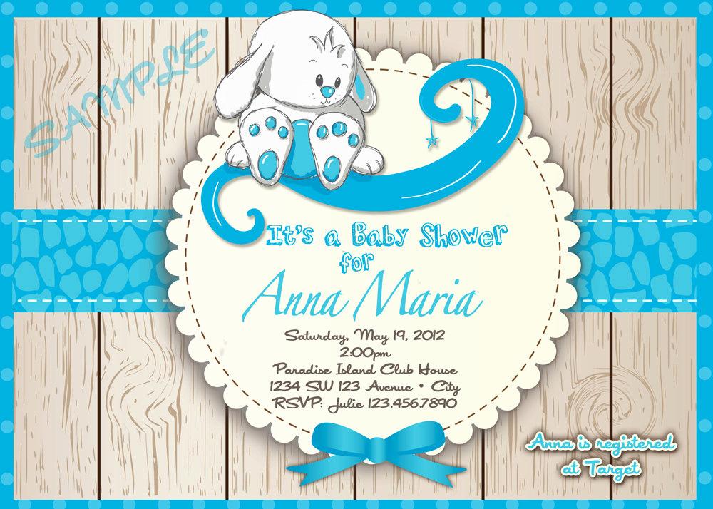 Boy Baby Shower Invitation Lovely Rabbit Baby Shower Invitation Boy S Baby Shower