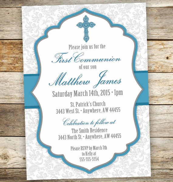 Boy First Communion Invitation Awesome Baptism Invitation Boy First Munion Boy Invitations Boy