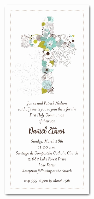 Boy First Communion Invitation Awesome Blue Cross Of Flowers Boys First Munion Invitations