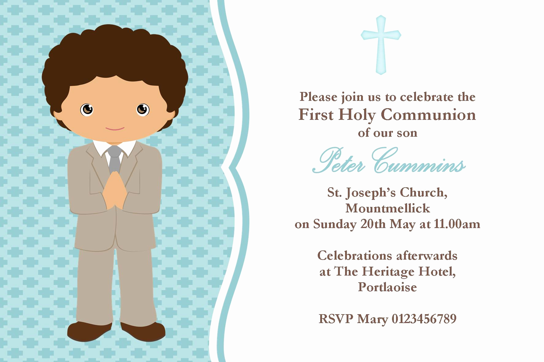 Boy First Communion Invitation Best Of Personalised First Munion Invitations Boy New Design 3