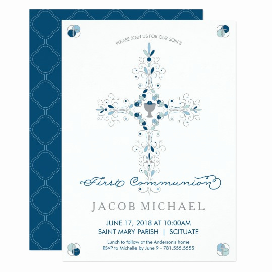 Boy First Communion Invitation Elegant First Holy Munion Invitation Boy S Invite Card