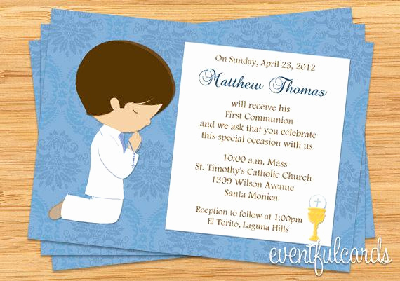 Boy First Communion Invitation Elegant First Munion Invitation for Boy Brown Hair