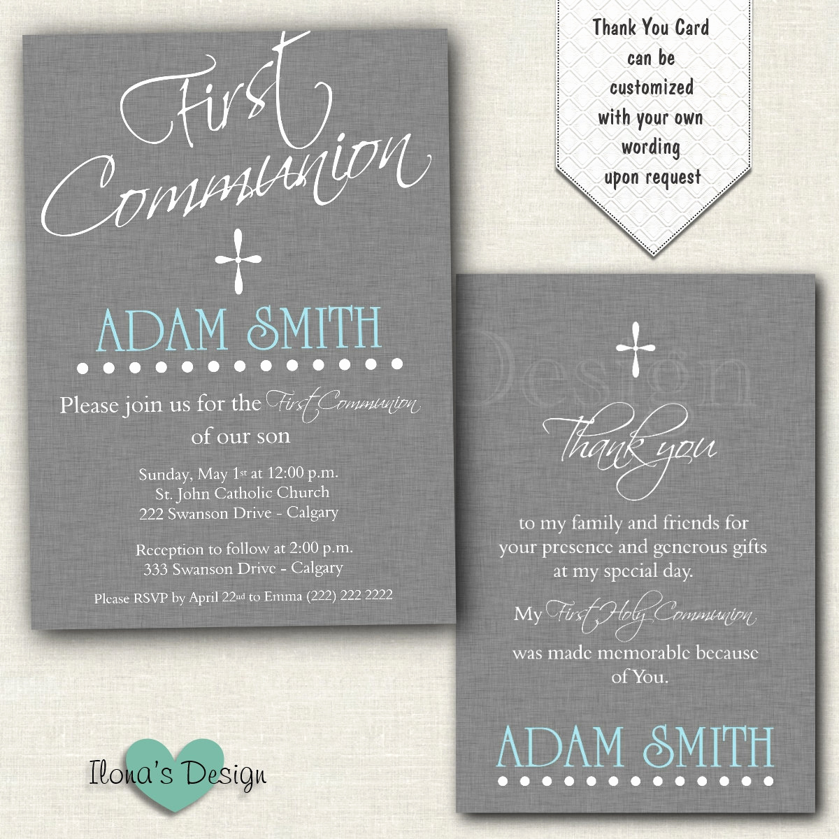 Boy First Communion Invitation Fresh Boy First Munion Invitation Grey 1st Munion Invitation