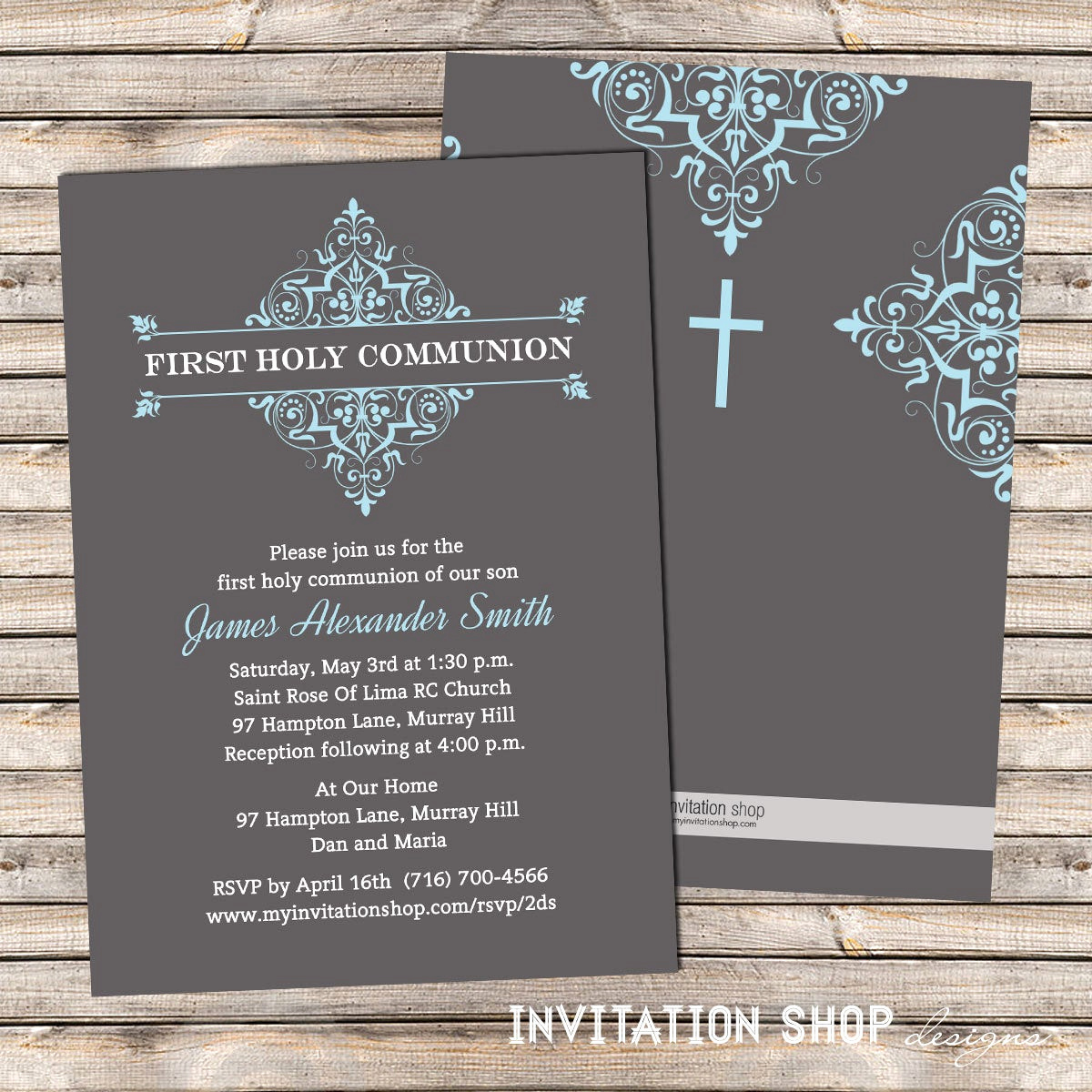 Boy First Communion Invitation Inspirational Elegant Damask Frame Munion Invitations First Holy