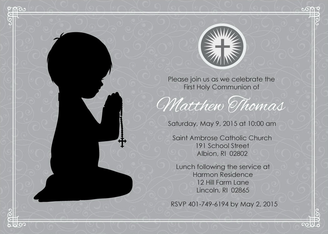 Boy First Communion Invitation Lovely Boy Kneeling First Munion Invitation Digital 4 X 6 or 5 X