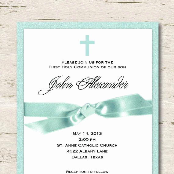 Boy First Communion Invitation Lovely First Munion Invitation Boy Teal Blue