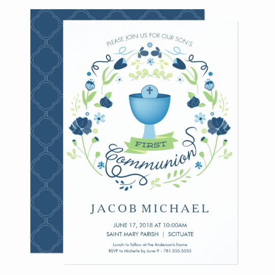 Boy First Communion Invitation Unique First Holy Munion Invitation Boy S Invite Card