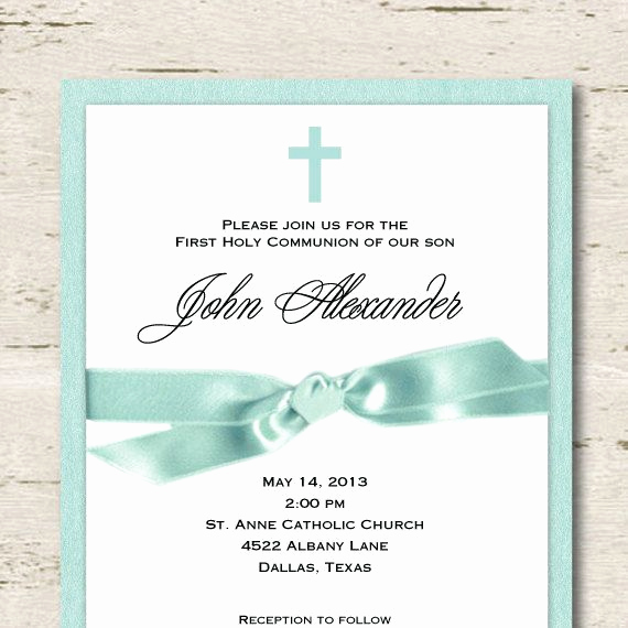 Boy First Communion Invitation Unique First Munion Invitation Boy Tiffany Blue by
