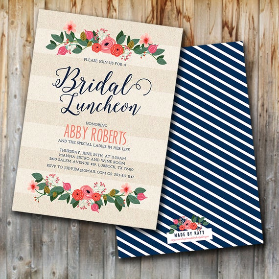 Bridal Brunch Invitation Wording Best Of Whimsy Floral Bridal Luncheon Invitation Bridal Brunch